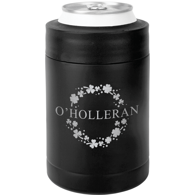 OHOLLERANMATTECAN - St. Patrick's Day Koozie with Customized Name - Matte Black