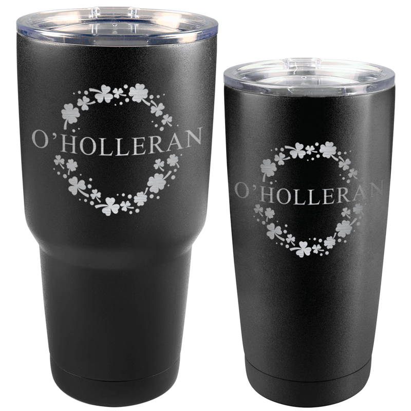 OHOLLERANMATTE - St. Patrick's Day Matte Black Tumbler with Custom Name (30 oz or 20 oz)