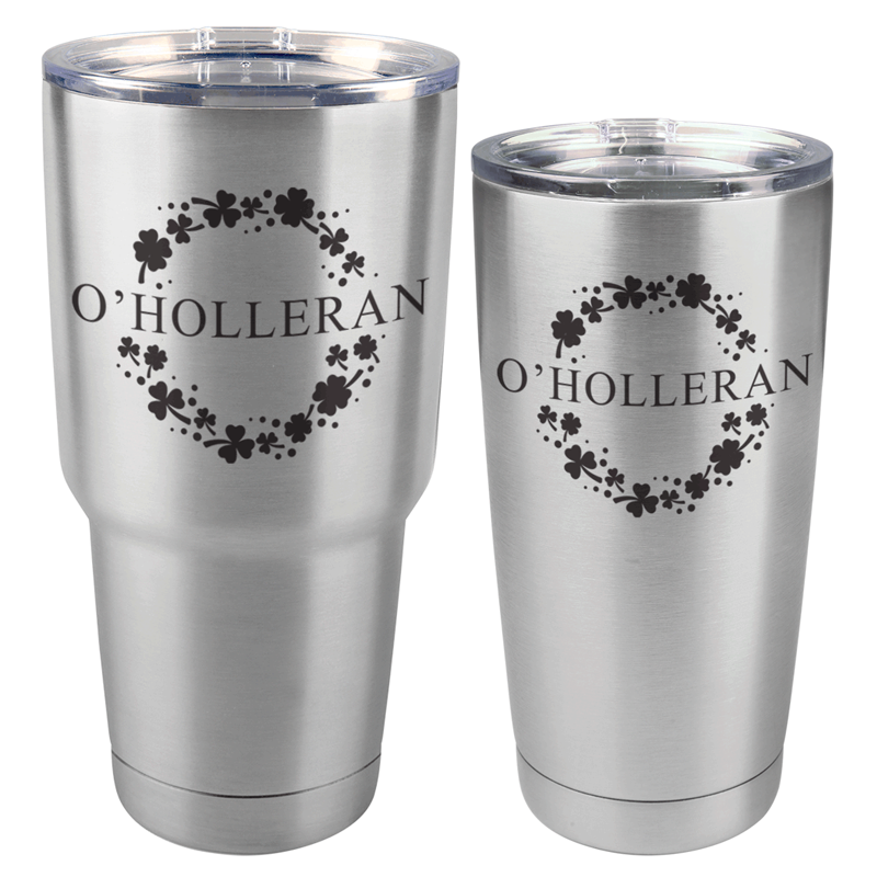 OHOLLERANSS - St. Patrick's Day Stainless Steel Tumbler with Custom Name (30 oz or 20 oz)