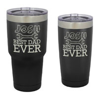 TUMBLER-B-BM - Best Dad Ever Tumbler - 30 oz or 20 Black Matte Stainless Steel