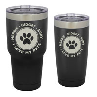 TUMBLER-I-BM - Dog and Cat Customized Tumbler - 30 oz or 20 Black Matte Stainless Steel